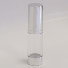 Clear & Silver Chrome 15ml With Cap - Airless Serum Bottles