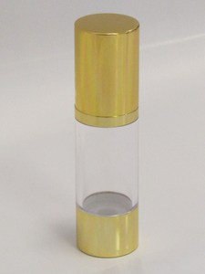 Clear & Gold Chrome 30ml With Cap - Airless Serum Bottles