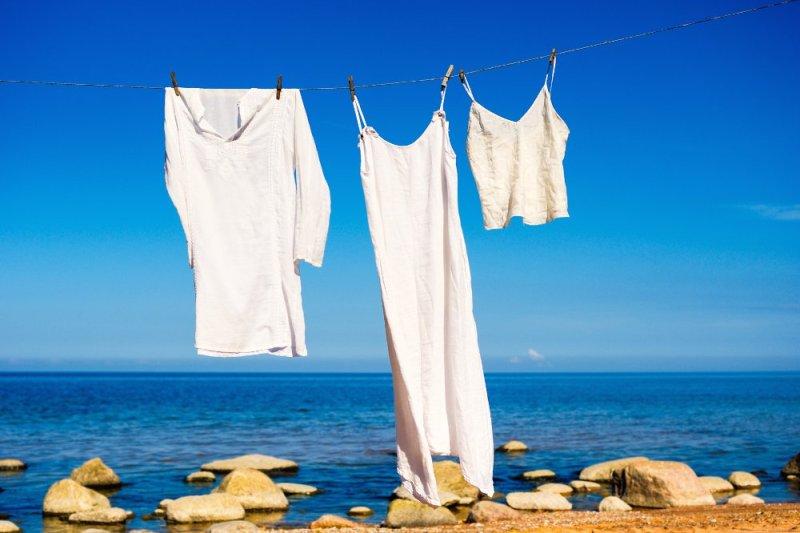 White linen near water