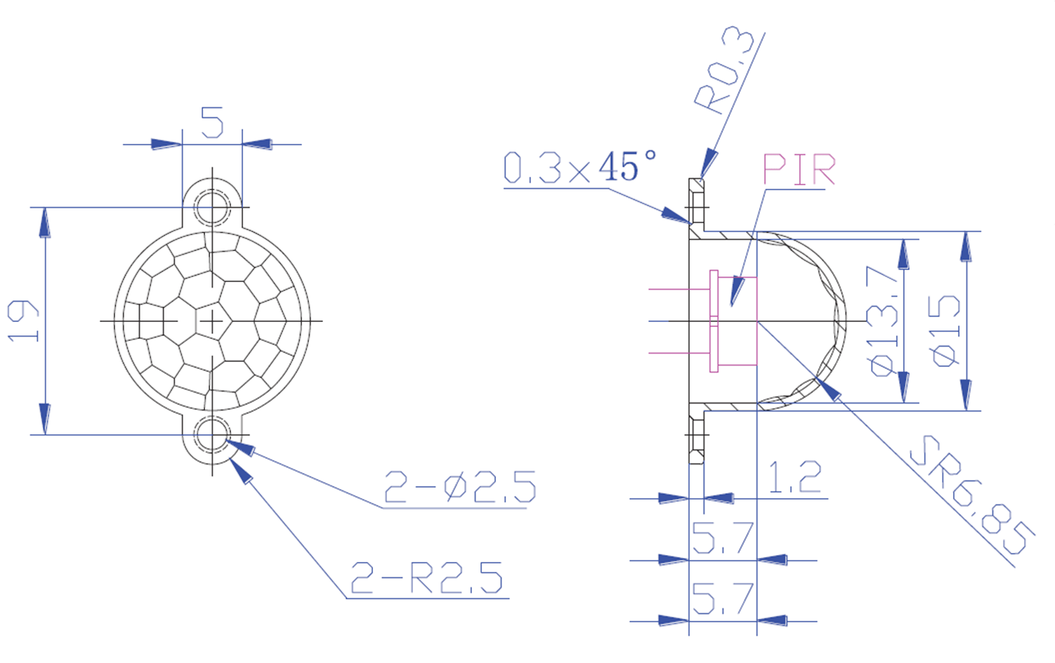 Fresnel Lens Pd75 C Pyroelectric Infrared Sensor Human Detector Pir Motion
