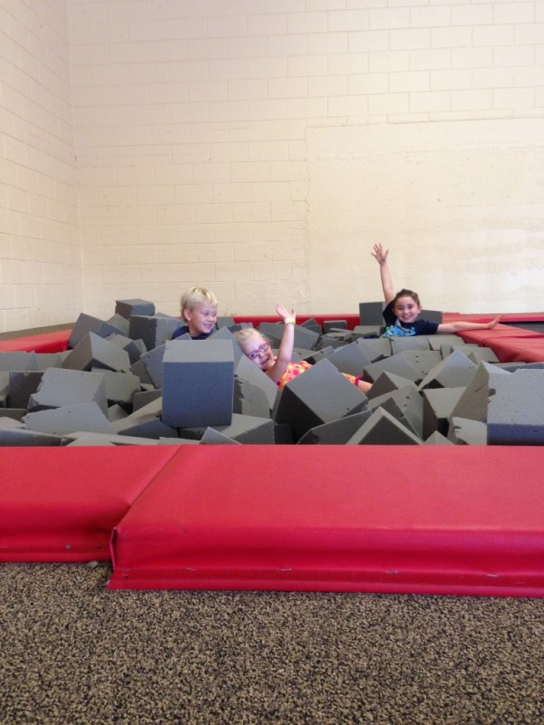 Kiddo & friends enjoying the foam pit at Aerosports