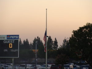 Flag at half staff in remembrance of 9/11