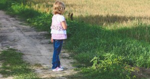 Little girl on the path