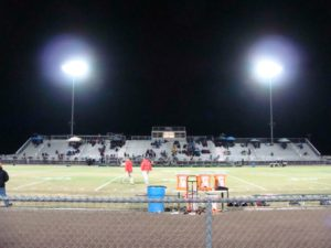Liberty stadium on a rainy halloween