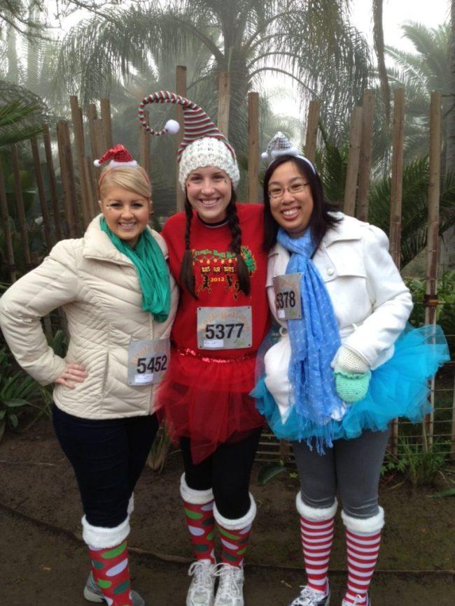 Rachel, Joanne and I getting ready to start the Jingle Bell Run/Walk in 2012