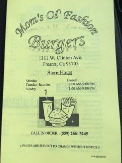 Moms Ol Fashion Burgers menu