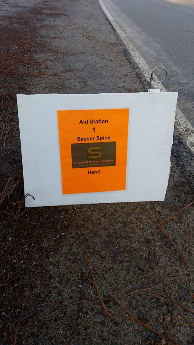 aid station sign