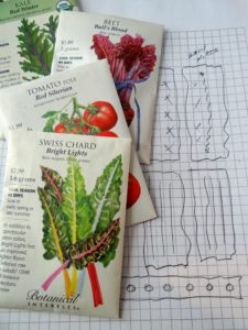 seed packets planning a garden