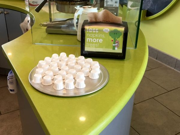 You don't have to wait around and ask for a sample - just grab a cup!