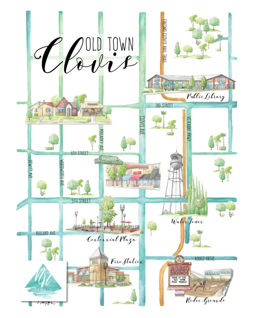 Old Town Clovis Map by Natasha Holland
