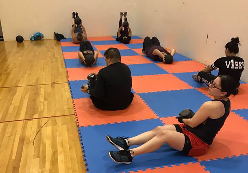 working on core exercises