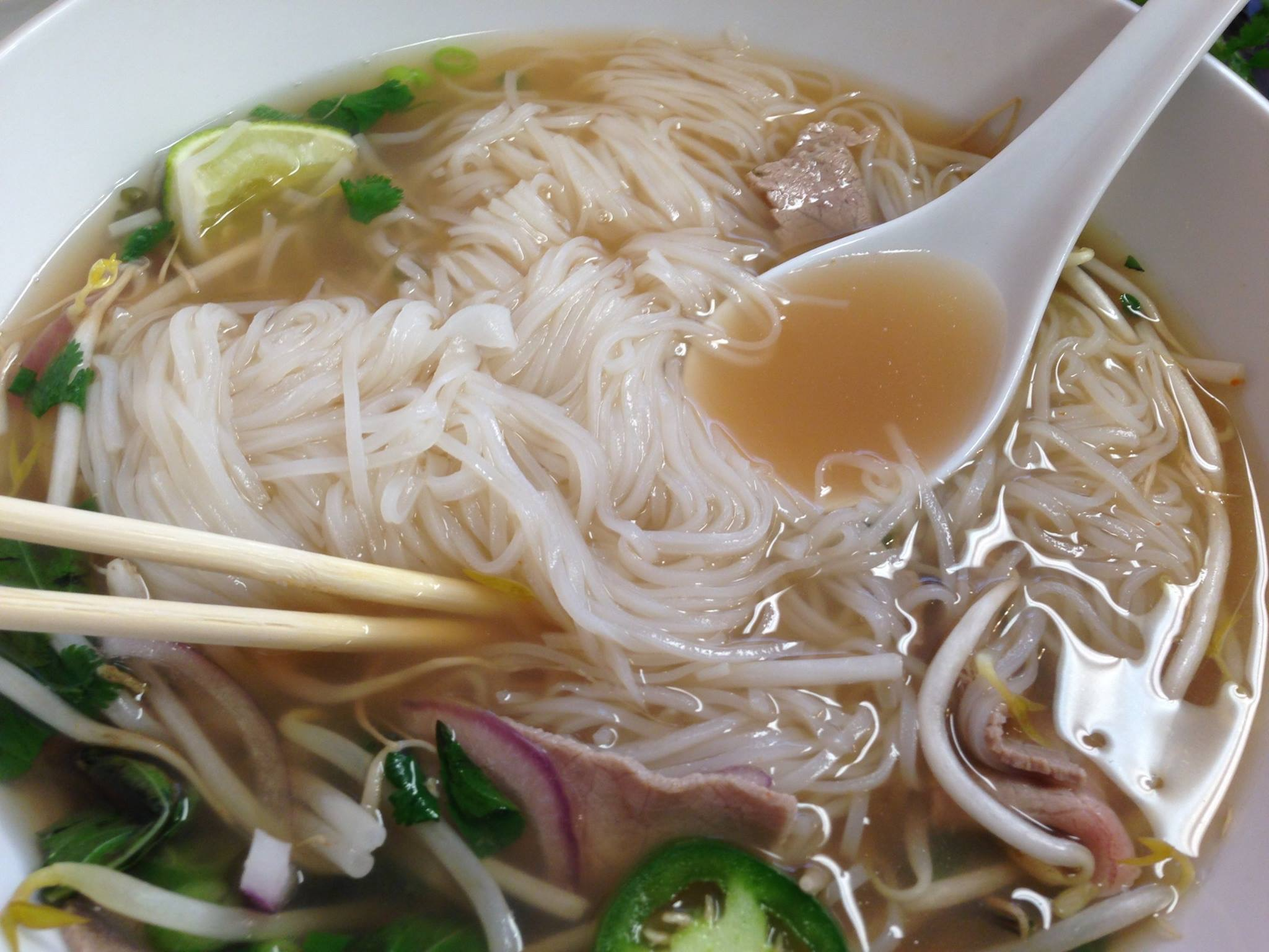 A great looking bowl of Pho Bo