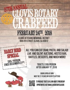 27th Annual Clovis Rotary Crab Feed