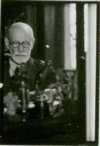 Sigmund Freud at his desk in 1938.