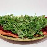 Pizza Vegana mit roten Rüben (Rote Bete) und Ruccola #vegan