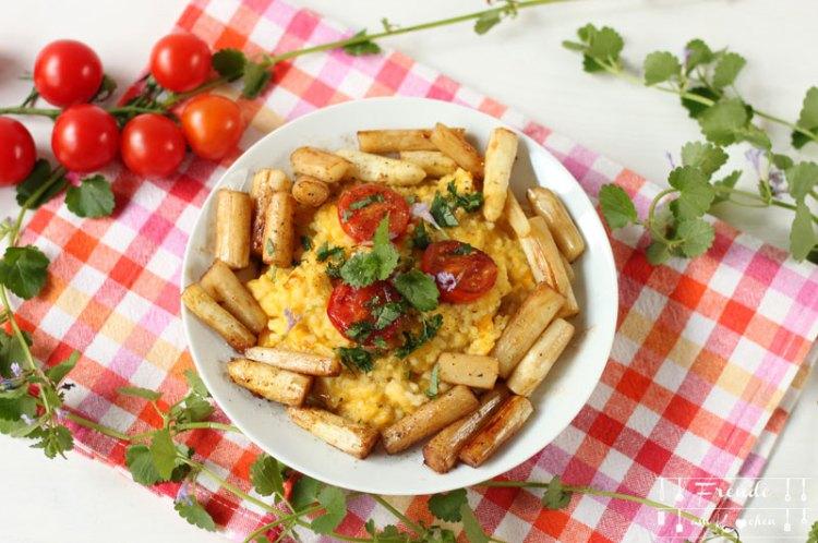 Kürbis Risotto mit gebratenem Spargel und Gundermann - Vegan - Freude am Kochen