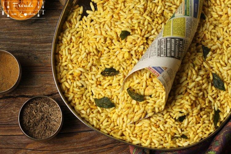 Murmure Namkeen - Indisches Knabberzeug aus gepufftem Reis - vegan - glutenfrei - Freude am Kochen
