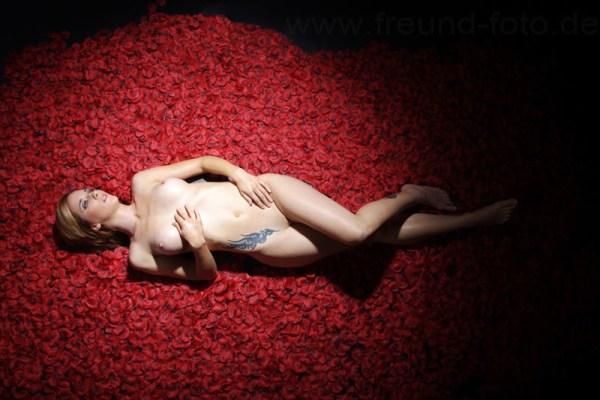 Nackte Frau liegt auf 30000 Rosenblüten Blätter