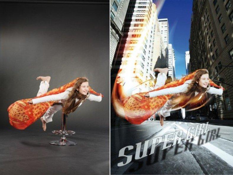 Bildmontage Bildretusche fliegende Frau