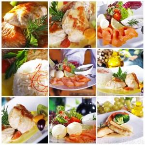 Deutsche Küche mit Lachs, Hähnchen Fleisch und Salat