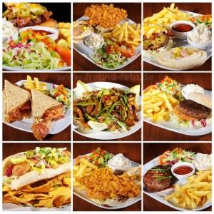 Sandwich, Steaks und Hamburger