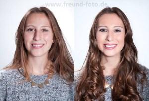 Glückliche Frau mit Profi Make Up und Styling