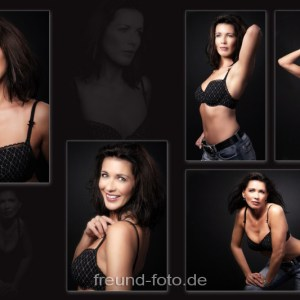 Frau beim Fotoshooting auf Bild Collage