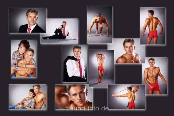 Sportlicher Mann beim Fotoshooting auf Bild Collage