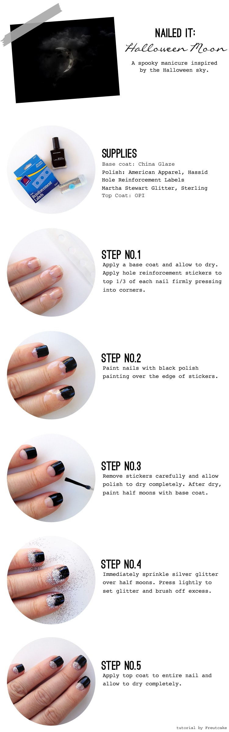 glittered half moon nail tutorial