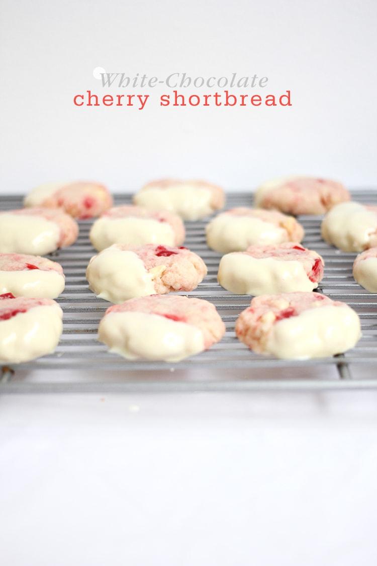 White Chocolate Cherry Shortbread Cookie