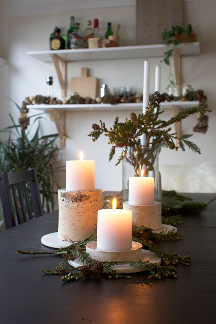 Birch Log Pilar Candle Holders