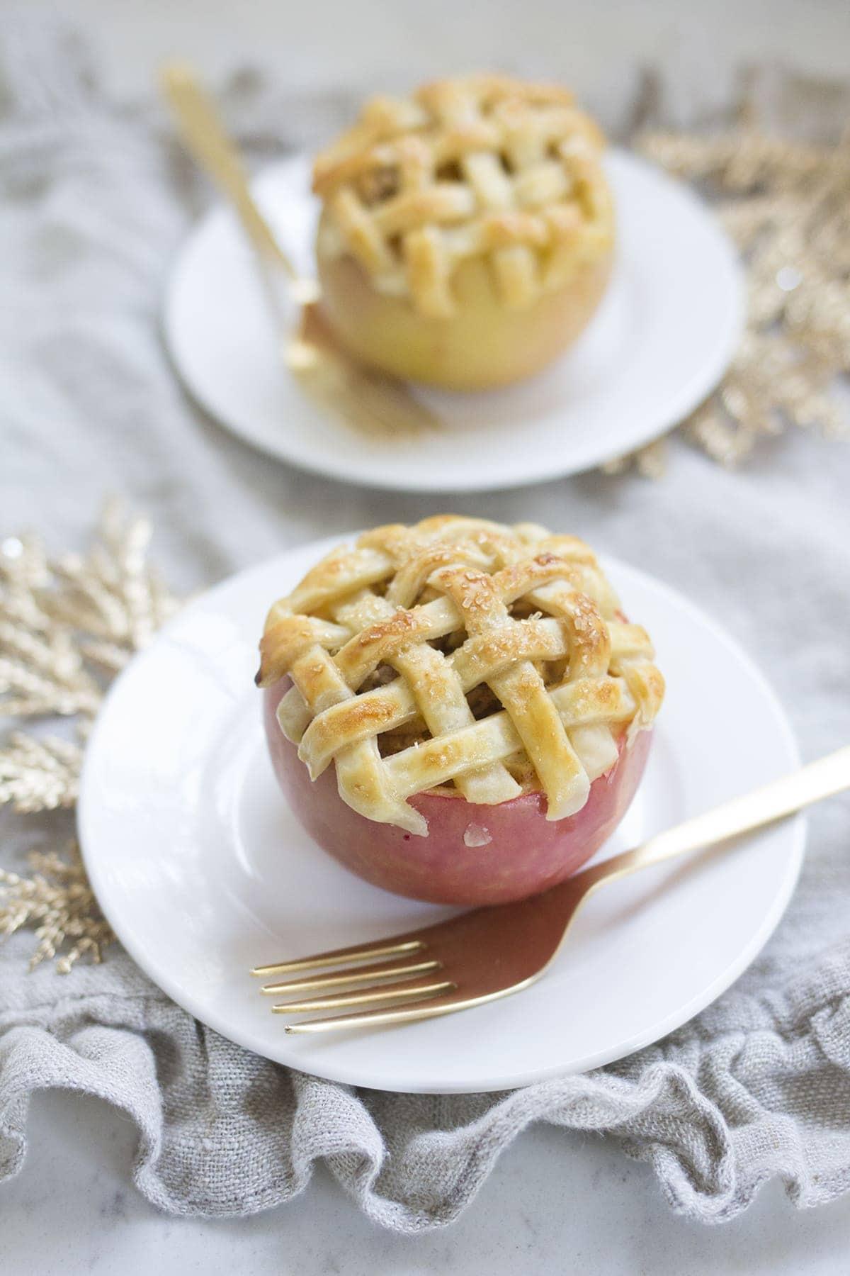 Apple Pie Baked in an Apple