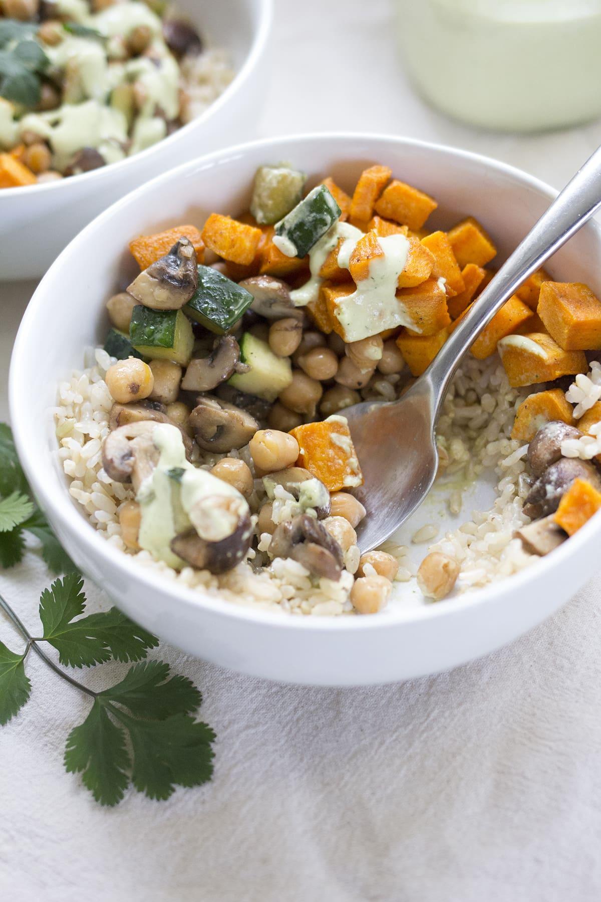 Veggie Bowls with Cilantro Tahini