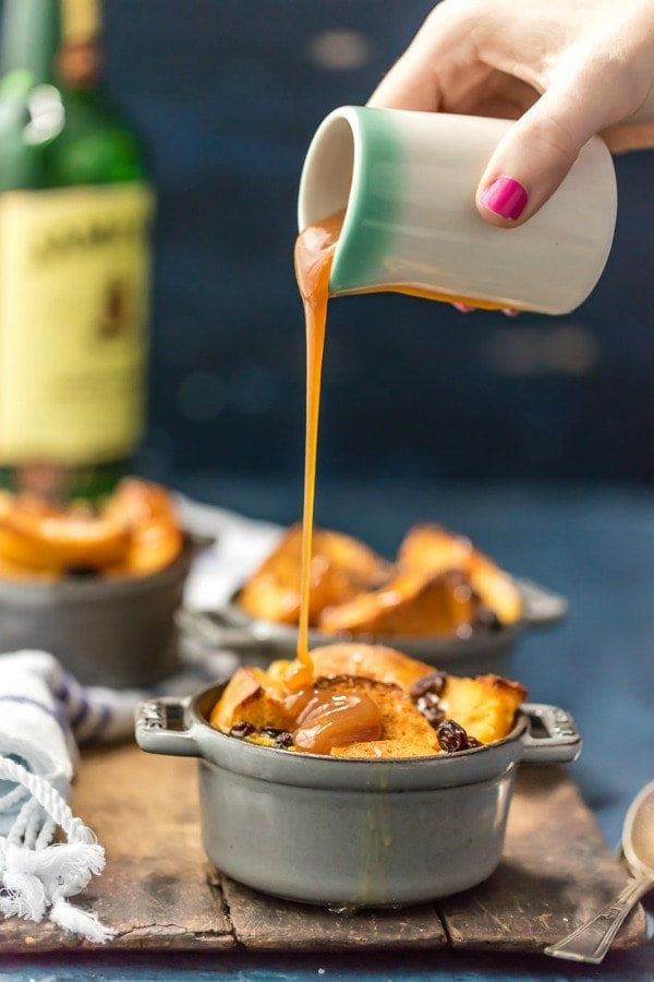 Bread pudding with whiskey caramel sauce