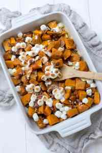 Roasted Kobucha Squash with Brown Butter, Marshmallows, and Pecans