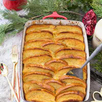 Baked Eggnog French Toast with Whiskey Whipped Cream + a Cozy Holiday Brunch Table