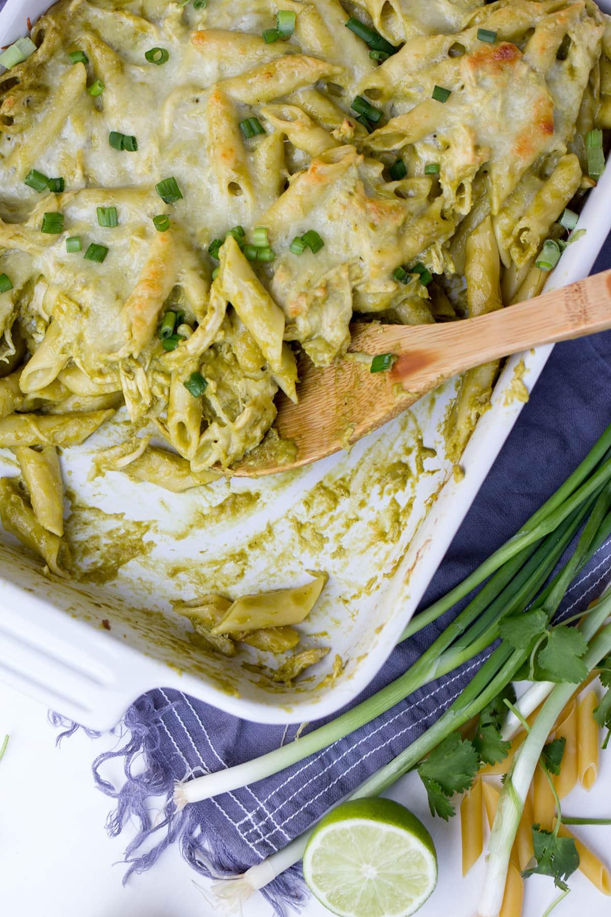 Chicken Chile Pasilla Pasta Casserole
