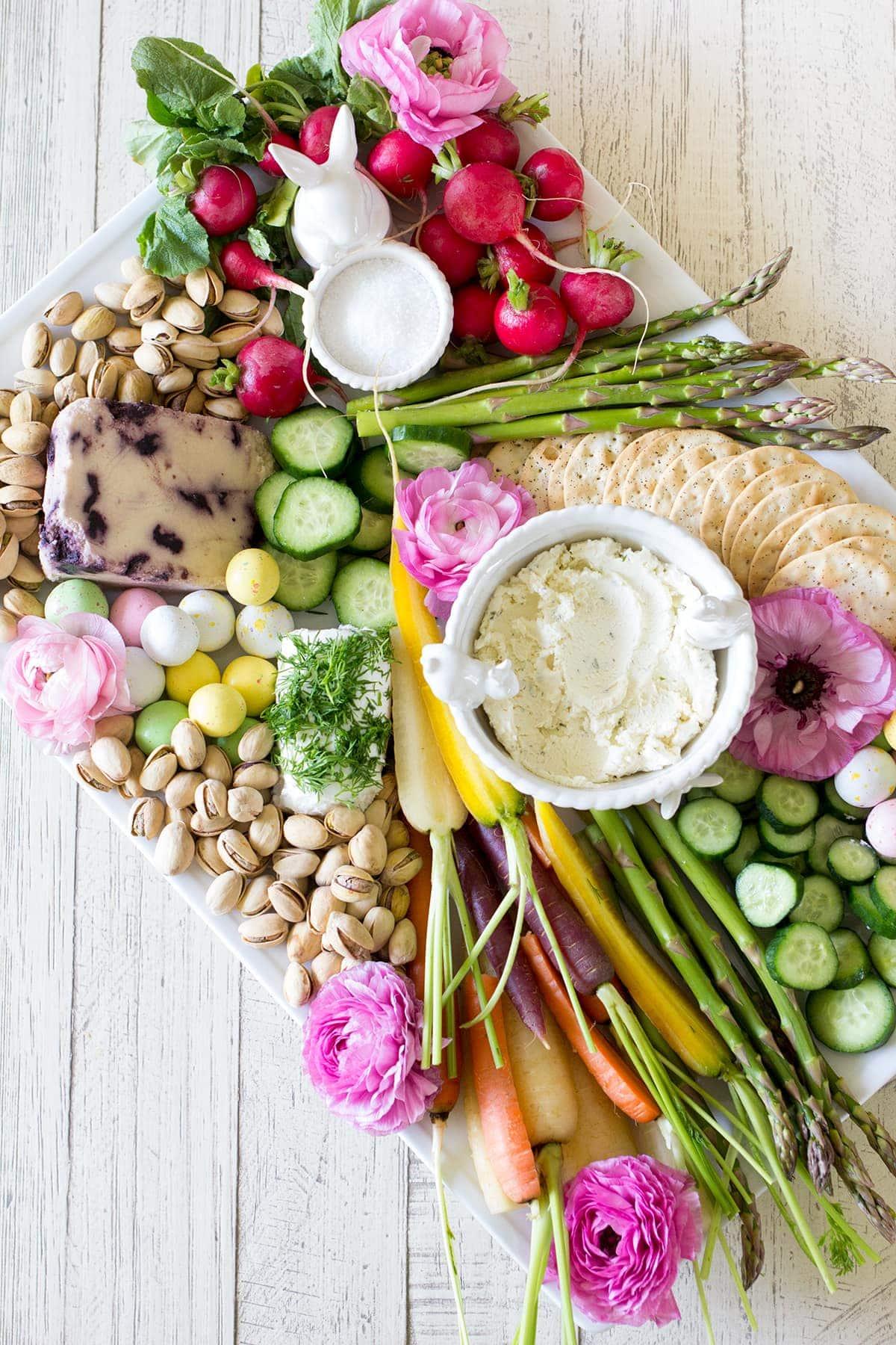 Easter Cheese and Crudite Board