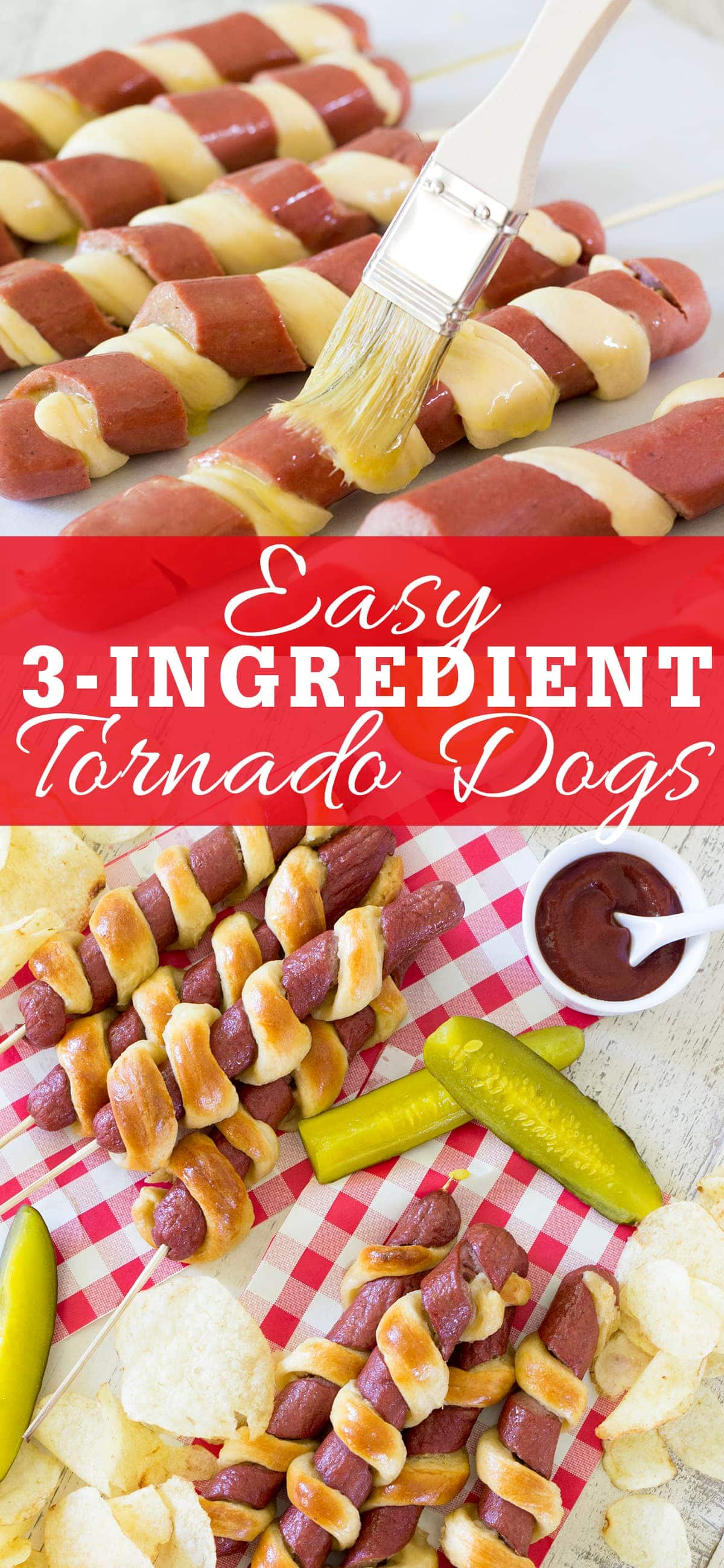 Easy 3-Ingredient Tornado Hot Dogs, spiral cut hot dogs wrapped in crescent roll dough, are an easy and fun way to prepare hot dogs for the 4th of July or anytime of year!