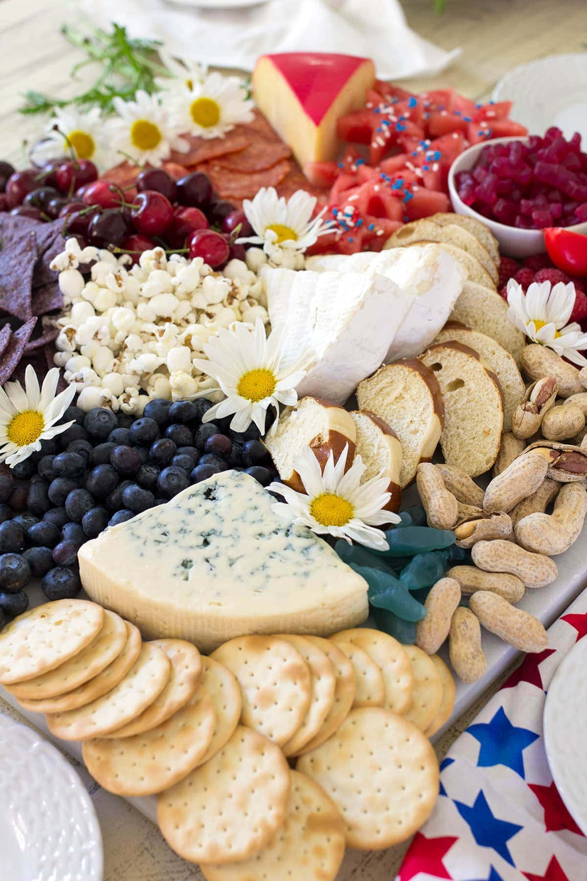 Ultimate Red White and Blue 4th of July Cheese Board