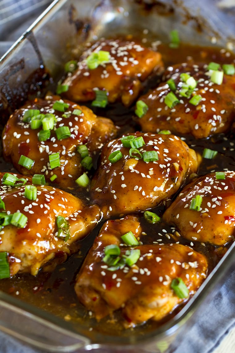 Sticky Baked Asian Chicken Thighs #boneless #stickyasianchicken #skinless #chickenthighs #asianchicken #easy #easyasianchicken #sticky #spicy #sweet