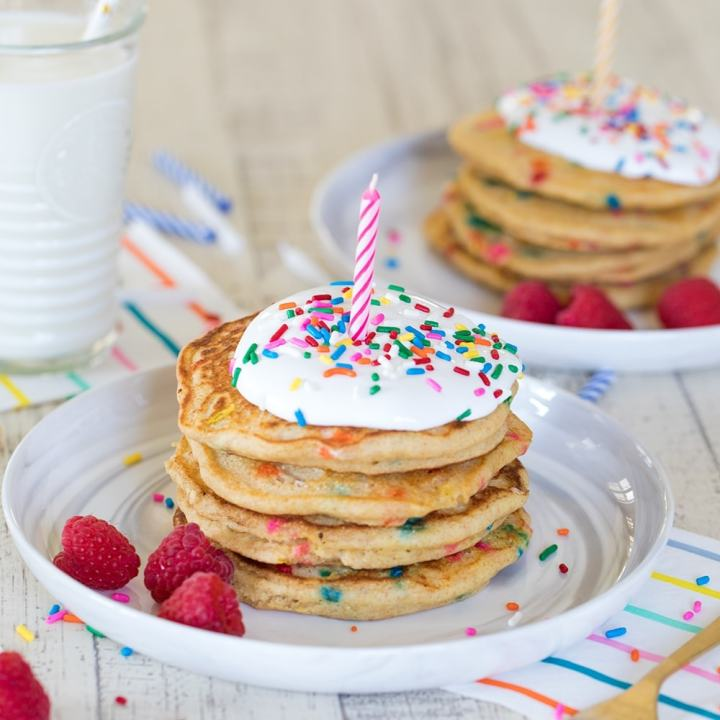 Multigrain Birthday Cake Pancakes