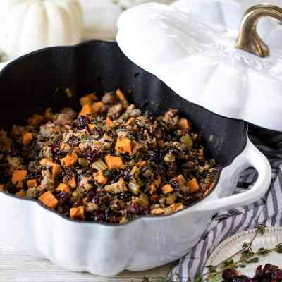 Wild Rice with Sausage, Sweet Potato and Cranberries