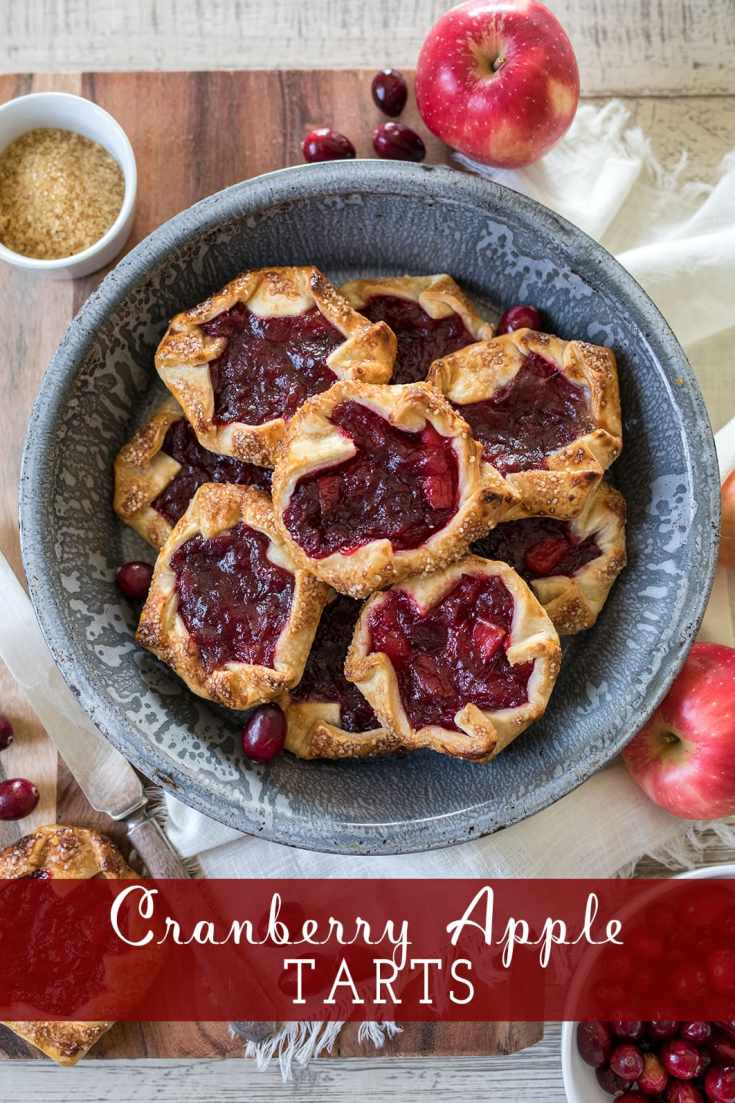 Easy Cranberry Apple Tarts made with store bought pie dough.
