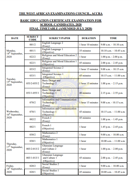 BECE Starts On Monday – Check Timetable 4