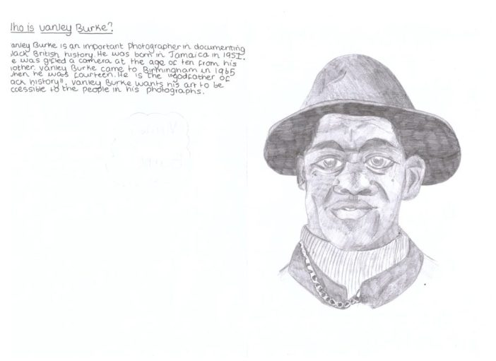 Young persons drawing of Vanley Burke