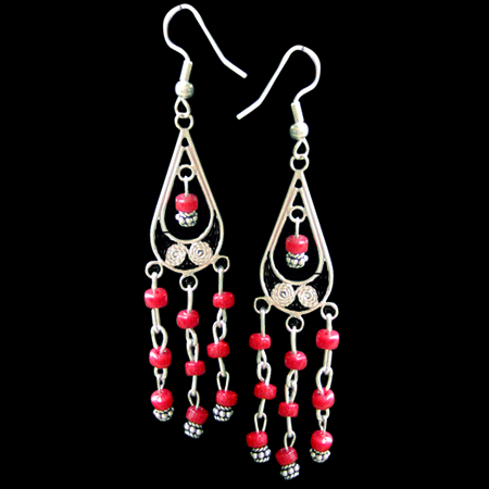 Red Mexican Chandelier Earrings