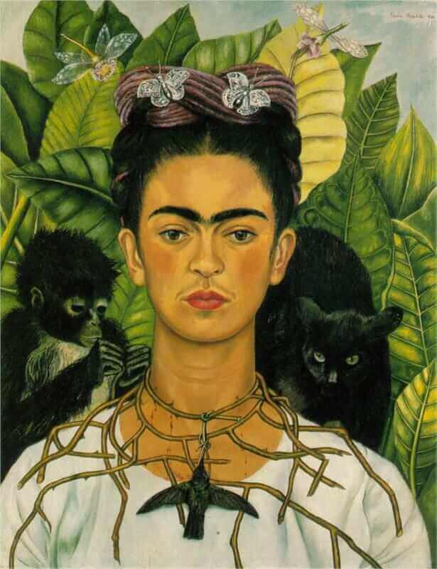 Self-Portrait with Thorn Necklace and Hummingbird, 1940, By Frida Kahlo
