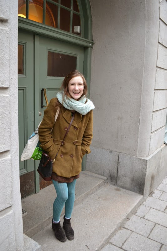 Brown and minty green outfit