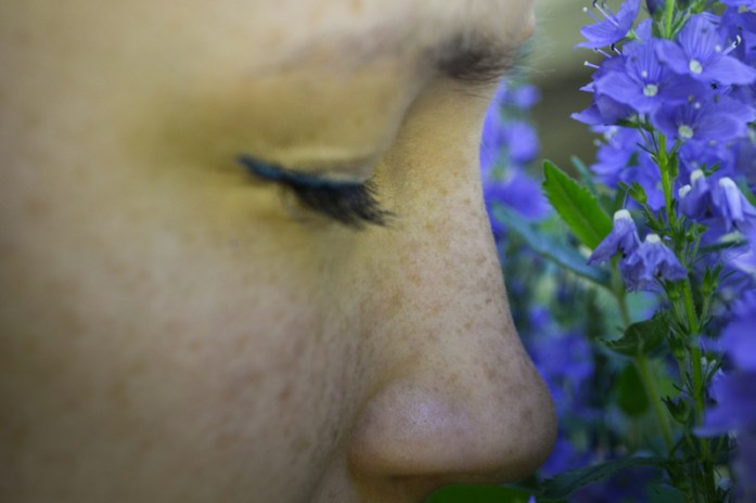 Freckles and blue flowers